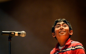 Srikar Chamarthi, representing Fasken Elementary, competes in the Midland Reporter-Telegram's 29th Annual Regional Spelling Bee on Saturday, Feb. 20, 2016, in the Allison Fine Arts Building on the campus of Midland College.