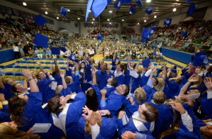 Midland Christian School graduating seniors throw their caps during commencement Friday, May 20, 2016, at McGraw Events Center.